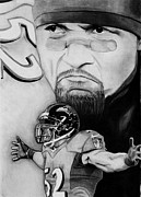 Nfl Drawings Prints - Ray Lewis Print by Jason Dunning
