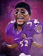 League Painting Prints - Ray Lewis Print by Jeremy Moore