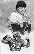 Pro Football Drawings Posters - Ray Lewis Poster by Jonathan Tooley