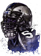 Sports Mixed Media Acrylic Prints - Ray Lewis -  Last Game Acrylic Print by Michael  Pattison