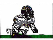 Sports Art Drawings Posters - Ray Rice 3 Poster by Jeremiah Colley