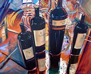 Wine Bottle Paintings - Raymond Vineyards Crystal Cellar by Donna Tuten