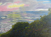 Sun Rays Painting Prints - Rays of Light At Burliegh Heads Print by Pamela  Meredith