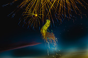 Yellow Fireworks Prints - Rays Of Light From Above Print by Robert Bales