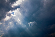 Clouds Photographs Digital Art - Rays of Sunshine Through Dark Clouds by Natalie Kinnear