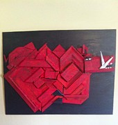 Arkansas Mixed Media Prints - Razorback Abstract 17 Print by Jason Harper