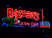 Cajun Cafe Framed Prints - Razzoos Cajun Cafe at Nite Framed Print by Robert J Sadler