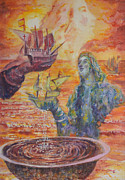 Old San Juan Painting Metal Prints - Re-encounter with Borinquen Metal Print by Estela Robles Galiano