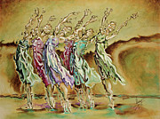 Ballerinas Painting Framed Prints - Reach Beyond Limits Framed Print by Karina Llergo Salto