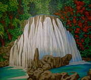 Waterfall Drawings - Reach Falls by Terry Conroy