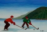 Pond Hockey Painting Framed Prints - Reach for It Framed Print by Anthony Dunphy