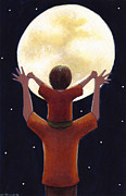 Child Painting Framed Prints - Reach the Moon Framed Print by Christy Beckwith