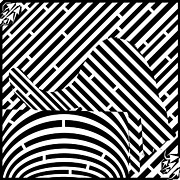 Maze Art Mixed Media Prints - Reaching Cat Maze Op Art Print by Yonatan Frimer Op Art Mazes