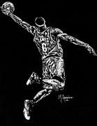 Nba Drawings Metal Prints - Reaching for Greatness Metal Print by Maria Arango