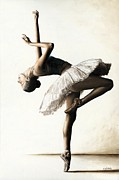 Ballet Art Painting Prints - Reaching for Perfect Grace Print by Richard Young