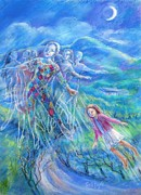Dance Of Joy Posters - Reaching for the Moonlight Poster by Trudi Doyle