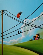 Humor. Paintings - Reaching New Heights by Cindy Thornton