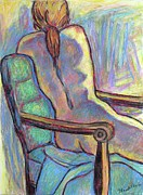 Seated Nude Drawing Prints - Reaching Out in Color Print by Kendall Kessler