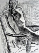 Charcoal Nude Drawings Posters - Reaching Out Poster by Kendall Kessler
