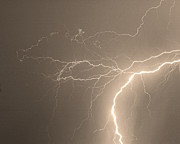 Lightning Prints - Reaching Out Touching Me Touching You Sepia Print by James Bo Insogna