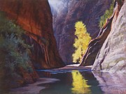 Zion National Park Pastels - Reaching Through the Narrows by Marjie Eakin-Petty