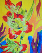 Gladiola Paintings - Reaching Up by Meryl Goudey