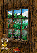 Cabin Window Drawings Prints - Read Print by Transcend Designs
