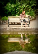 Man On Bench Prints - Reader at the Park Print by Cindy Wright
