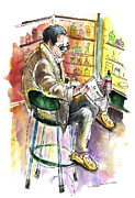 Rioja Prints - Reading El Pais and Drinking Rioja in Spain Print by Miki De Goodaboom