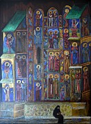 Colored Pencils Painting Originals - Reading from the Bible at Sucevita monastery by Elena Malec