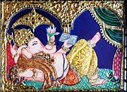 Original Art Reliefs Prints - Reading Ganesha Print by Jayashree