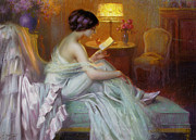 Lamplight Posters - Reading In Lamp Light Poster by Delphin Enjolras