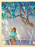 Shadows Pastels Posters - Reading in Lindos Poster by Heather Harman