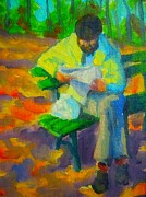 Benches Paintings - Reading in the Park by John Malone