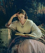 Portrait Artist Prints - Reading Print by Ivan Nikolaevich Kramskoy