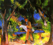 Macke Framed Prints - Reading Man in the Park Framed Print by Stefan Kuhn