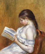 Girl Studying Posters - Reading Poster by Pierre Auguste Renoir