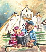 Bible Drawings Prints - Reading The Bible in La Iruela in Spain Print by Miki De Goodaboom