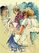 News Drawings - Reading The News 06 by Miki De Goodaboom