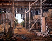 Old Barn Paintings - Reads Barn Hwy 124 by Anna-maria Dickinson