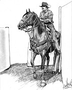 Rodeo Art Drawings - Ready for Action by Cheryl Poland