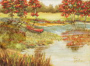 Canoe Painting Posters - Ready for Fun Poster by Vic  Mastis