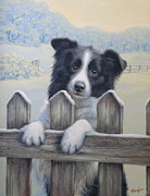 Collie Painting Framed Prints - Ready for work Framed Print by John Silver