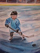 Hockey Painting Framed Prints - Ready Set Go Framed Print by Stella Sherman