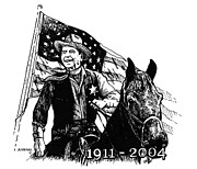Ronald Reagan Drawings Prints - Reagan Americas Sheriff Print by Joseph Juvenal