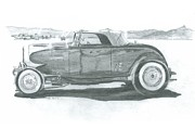Salt Flats Drawings Posters - Real Car Guy...Real Car Poster by Stacey Becker