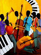 Trombone Painting Originals - Real Jazz Octet by Larry Martin