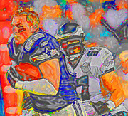 Football Mixed Media - Real Men in Color  by DJ Fessenden