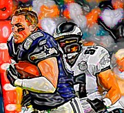 Eagles Mixed Media - Real Men Play Football by DJ Fessenden