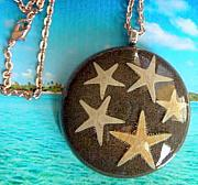Resin Jewelry - Real Ocean Sea Star Fish with Pismo Beach California Sand Pendant by Razz Ace